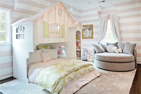 pink and white striped bedroom walls chic girl s bedroom features walls clad in white and pink