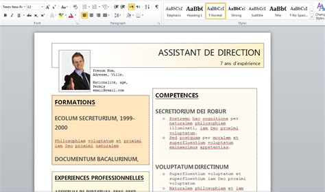 Modele Cv Word 2015 by Doc Modele Cv Word Gratuit Pour Assistant De Direction