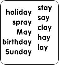vowel pattern exles ay words