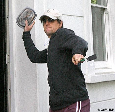 Hugh Grant Throws Baked Beans At Paps by Hugh Grant Arrested Doorstep Clash With Photographer