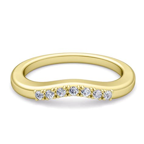 curved pave wedding anniversary ring band in 18k gold