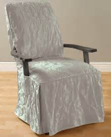 Dining Room Chair Slipcovers With Arms Sure Fit Matelasse Damask Dining Room Chair Slipcover