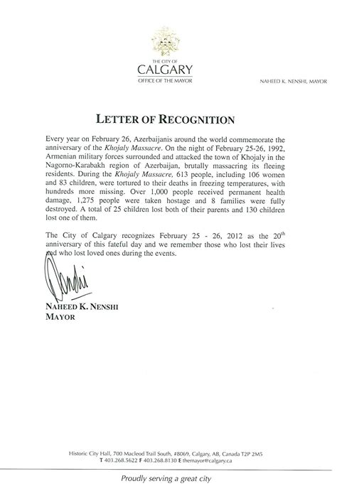 Letter Recognizing Community Service Calgary Mayor Naheed Nenshi Spreads Muslim Propaganda Against Christian Armenians 1389
