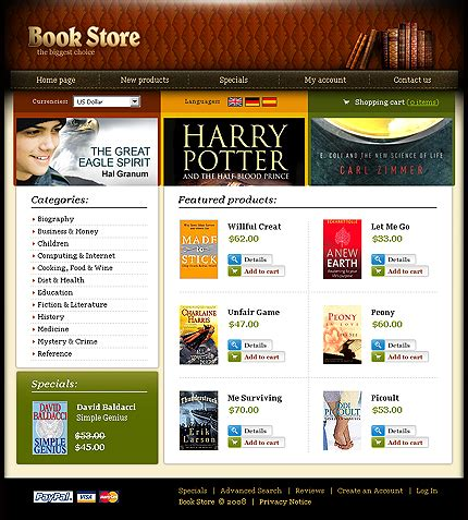 templates for bookstore website template 19215 book store oscommerce template