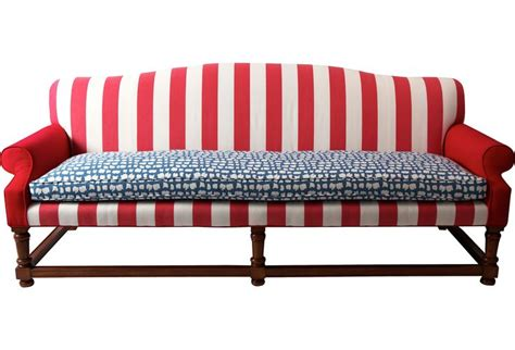red stripe sofa red white blue stripe camelback sofa darling for
