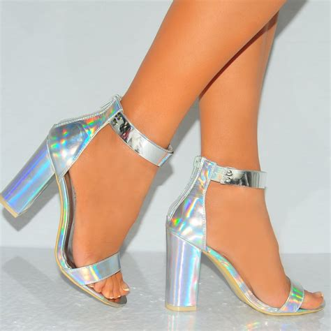 holographic high heels silver hologram with silver ankle cuff peep toe