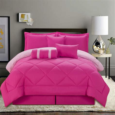 7 pc solid pink reversible comforter set queen size new ebay