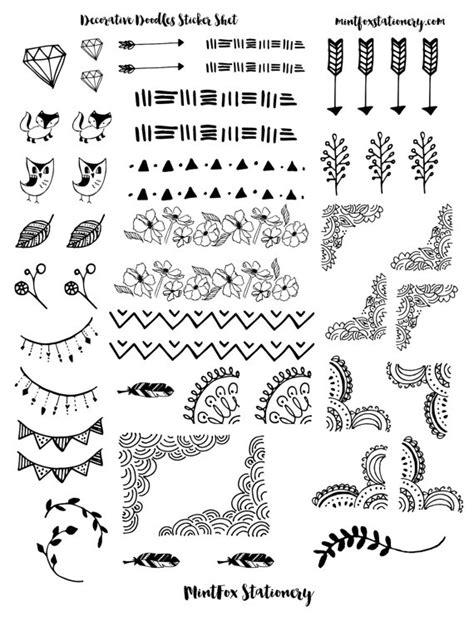 printable planner doodles decorative doodles printable sticker sheet pdf bullet