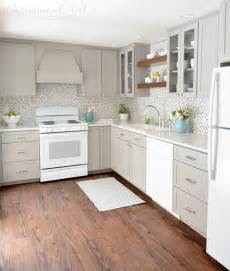 superior White Cabinets With Black Appliances #1: gray-and-white-kitchen-corner-view.jpg