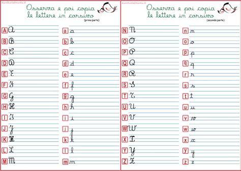 lettere da copiare alfabeto corsivo maiuscolo e minuscolo genitorialmente