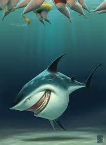 Shark Home Decor Zilber Evil Shark Grinning Swimmers Summer Funny Photoshop