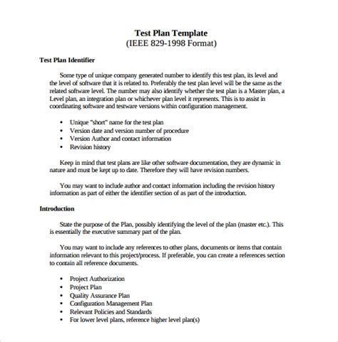 test plan template sle software test plan template 9 free documents in pdf