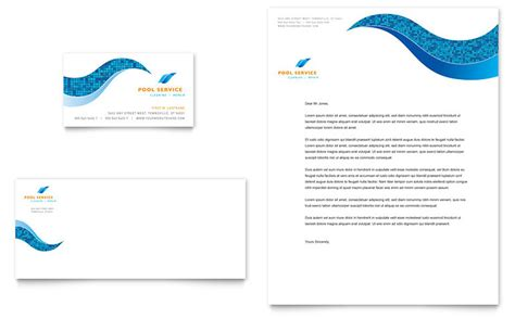 swimming pool cleaning service business card letterhead