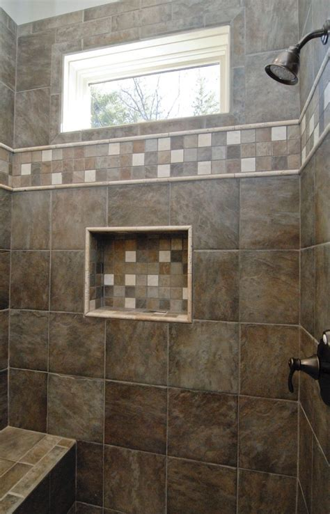 gorgeous dark brown custom tile walk  shower