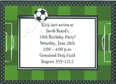field card template birthday invites awesome birthday soccer