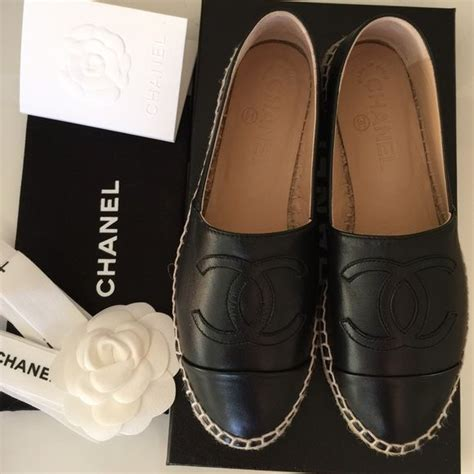 chanel espadrilles brand new black lambskin leather espadrilles come with box and shoes bag