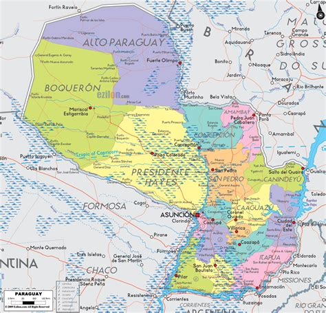 map of physical map of paraguay
