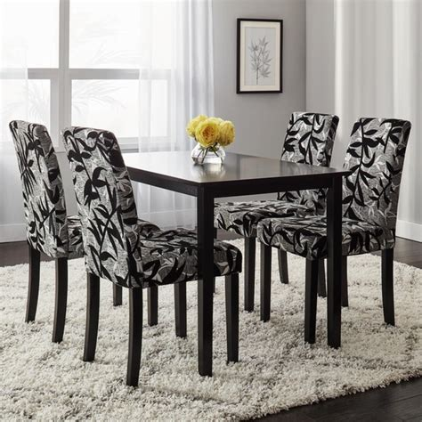 Silver Dining Table And Chairs Simple Living Parson Black And Silver 5 Dining Table And Chairs Set Free Shipping Today