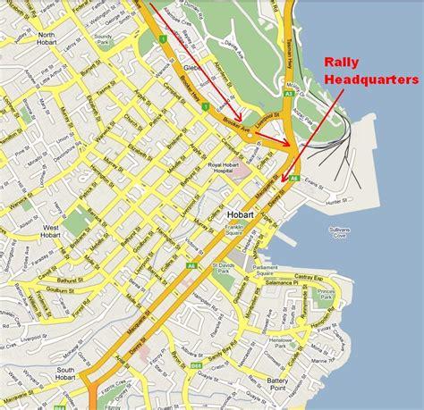 map of hobart city jaguar car club national rally 2009
