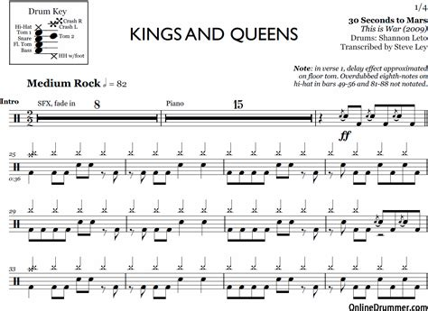 Kingsandqueens Apartments And 30 Seconds To Mars Drum Sheet