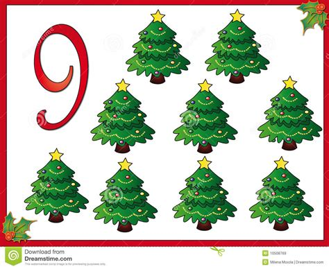 12 days of christmas 9 christmas trees royalty free stock