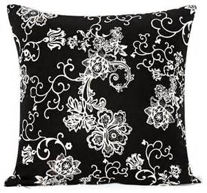 black and white floral swirl accent throw pillow cover
