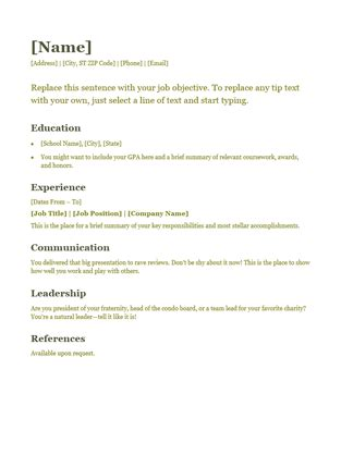 Resume Template Word Nz Resume Green Office Templates