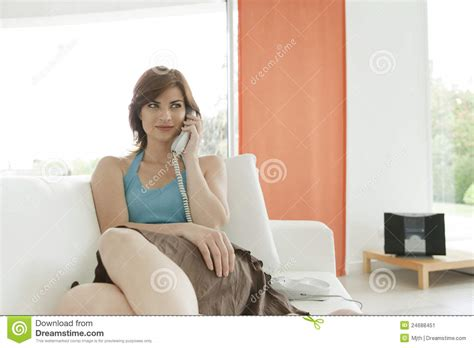 a phone call at home stock image image