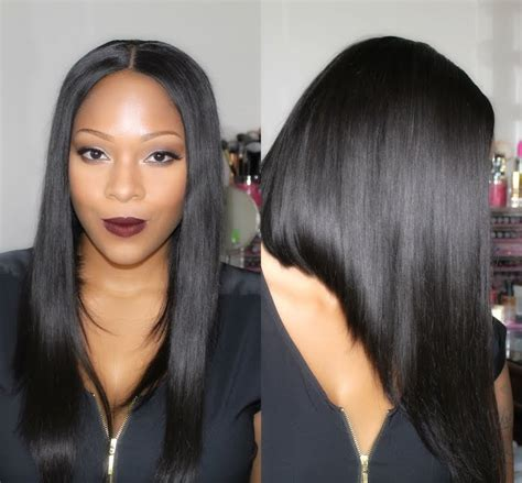 black hair styles with part down the middle sexy middle part bob wig myfirst wig youtube