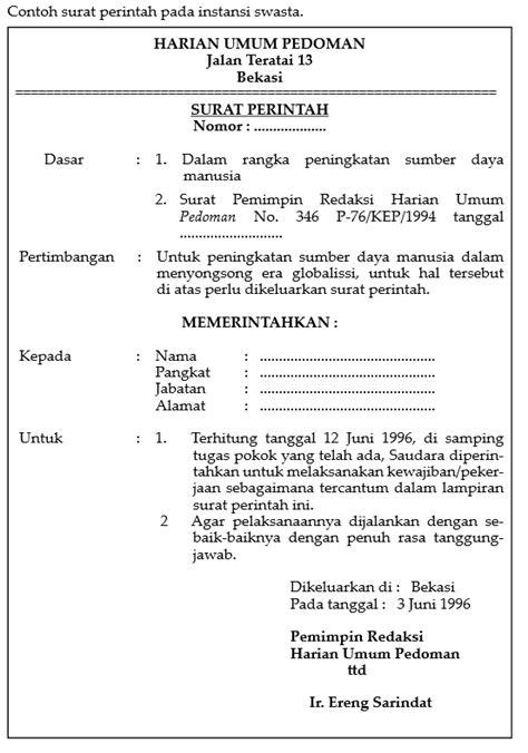 model model surat berisi perintah kerja