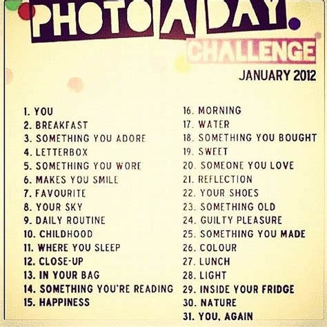 Themes For 365 Photo Project | photo a day challenge 365 ideas stuff for me pinterest