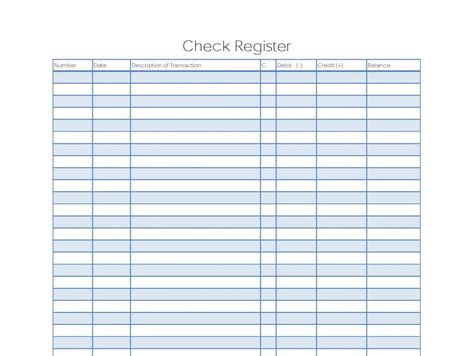 business check register template printable check register template business