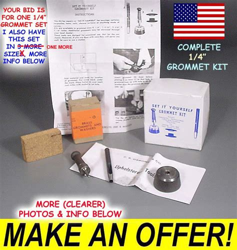 grommet tool kit for curtains nib usa made brass grommet tool kit tent sail tarp canvas