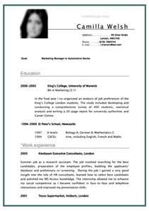 cv curriculum vitae student sample for marketing manager
