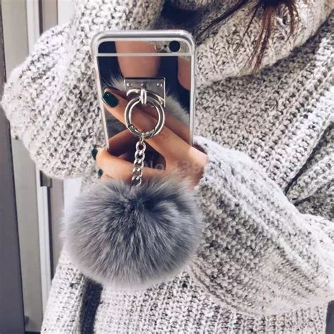 Iphone 6 6s Soft Tpu Mirror Metal Ring Stand luxury metal rope colorful mirror style rabbit fur
