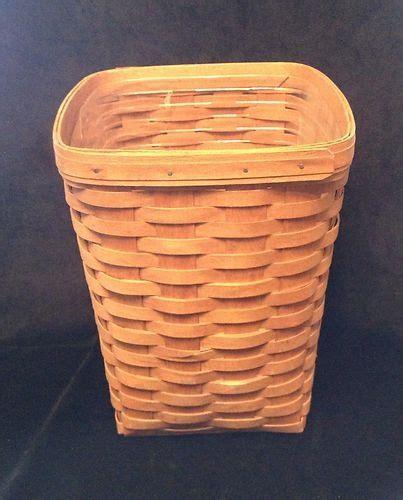 longaberger 1986 small waste basket her w lid darker longaberger 1991 small waste basket w protector liner