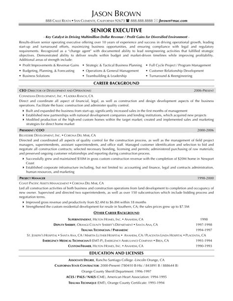 executive resume templates sle resume cover letter format
