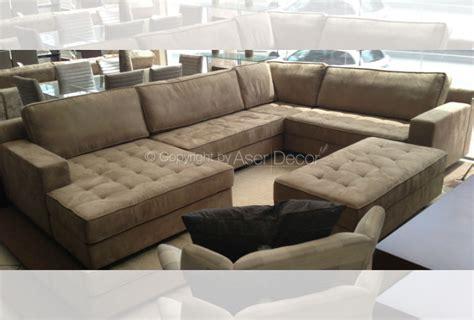 sofas em l sof 225 bettiv canto em l camur 231 a marrom sala de estar