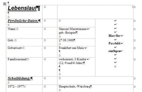 Lebenslauf Bewerbung Tabelle Lebenslauf Muster Bewerbungen