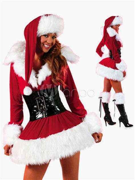 imagenes santa claus mujeres vestido sexy de color rojo para disfraz de santa claus