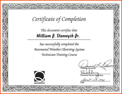 completion certificate template free certificate of completion template program format
