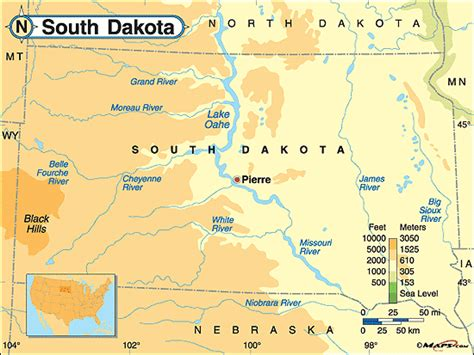 physical map of south dakota south dakota physical map by maps from maps