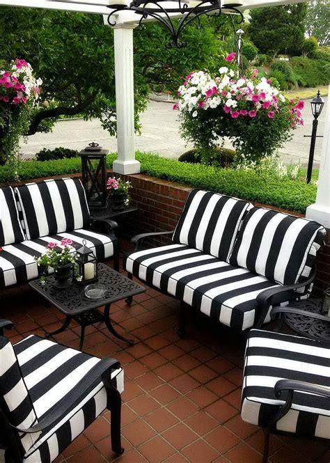 black  white striped patio cushions black patio