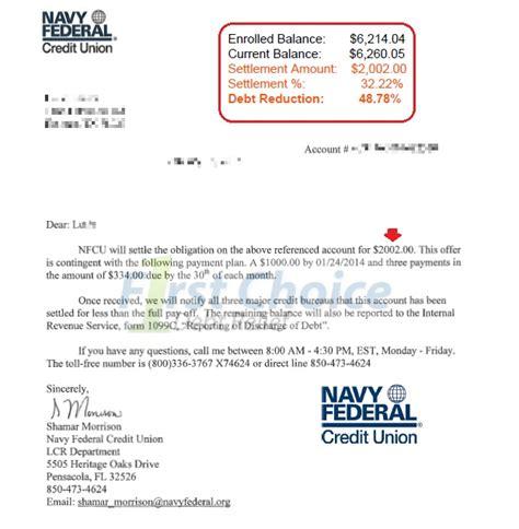 Debt Settlement Letters Navy Federal Bank Statement Template