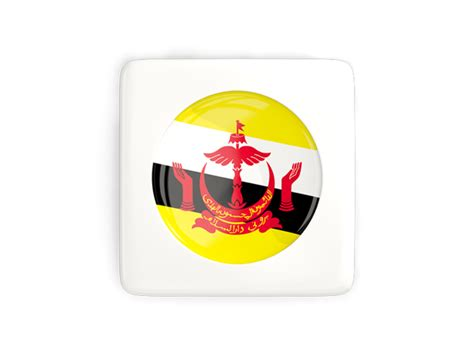 icon design brunei square icon with round flag illustration of flag of brunei