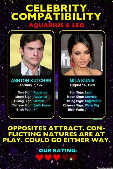 celebrities with libra sun leo moon ashton kutcher aquarius mila kunis leo