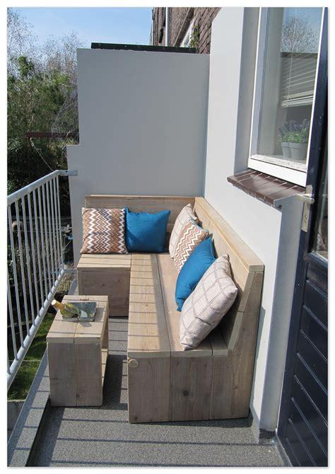 balkon loungebank gebruikt steigerhout op het balkon - Balkon Bank Klein
