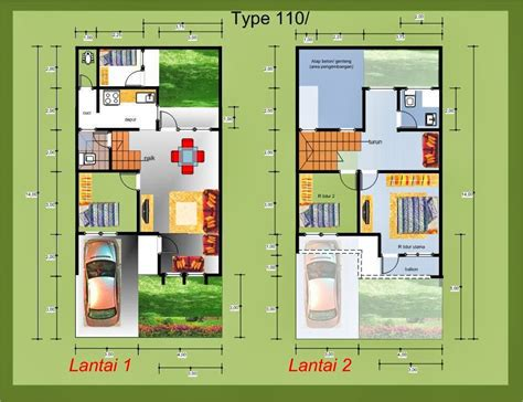 denah rumah minimalis type 36 45 54 60 70 80 100 home house cottage and everything