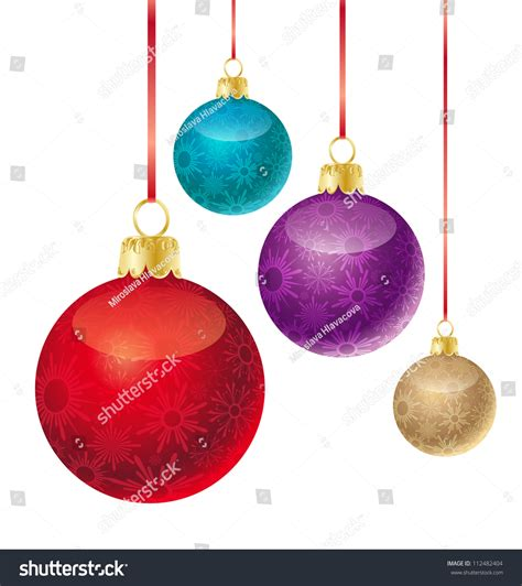 set different colored christmas balls stock vector