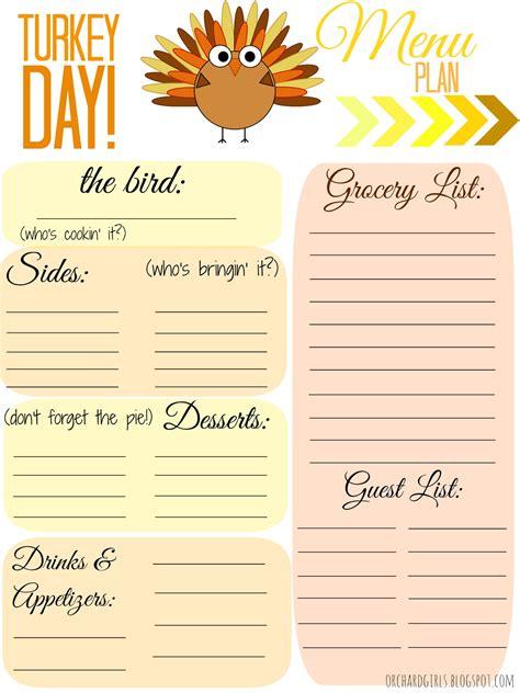 orchard girls  thankgiving day menu plan printable